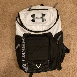 Black and white gently used underarmour backpack